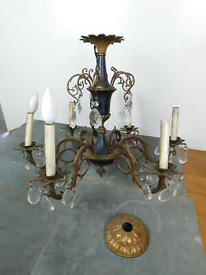 Antique Chandelier French Filigree Bronze Ebony 6 Light Crystals Fancy NEEDS TLC