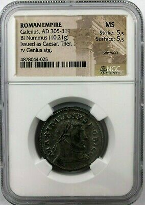 ROMAN IMPERIAL: Galerius, (10.21 gm), Bi Nummus NGC MS 5/5, 5/5, PERFECT