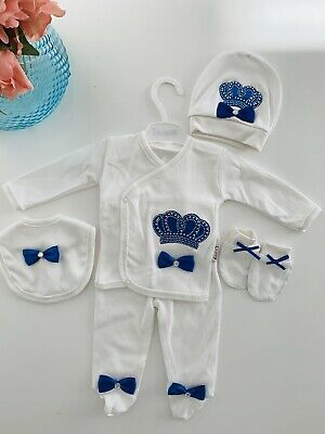 UK SELLER 5 Piece Newborn Size Hospital Outfit Baby Boy Gift Set Clothes Crown