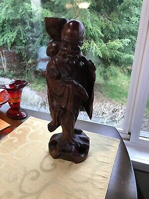 Vintage Japanese Asian Hand Carved Man Figurine Statue Teak Wood