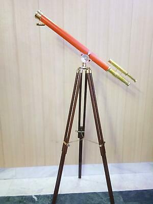 Nautical Brass Telescope Double Barrel Orange Powder Coating With Wooden Tripod