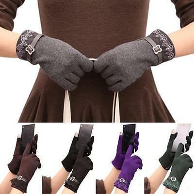 Women Winter Fleece Thermal Warm Elegant Cotton Touch Screen Gloves Ski Glove SL