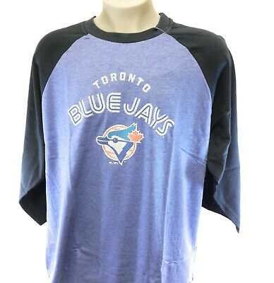 Mens Majestic MLB Toronto Blue Jays Cooperstown Collection Baseball 3/4 T-Shirt