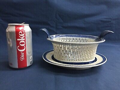 Antique Chinese Export Blue & White Nanking Small Open Weave Basket & Underplate