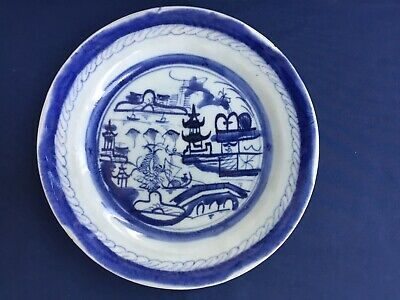 """Antique Chinese Export Blue & White Canton 10"""" Plate"""