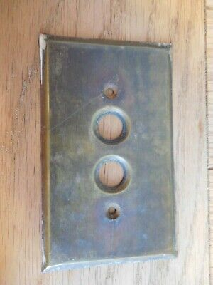 Vintage Single Gang Brass Push Button Wall Cover Plate .04 Gauge