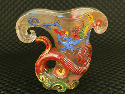 Asian old glaze Hand carved dragon statue wine glass collect  noble decoration