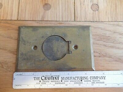 Vintage Single Gang Brass Round Wall Cover Plate with hinged cover .04 Gauge