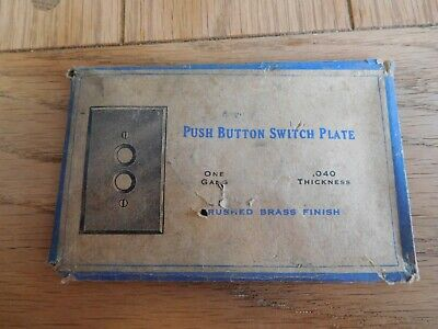Vintage NOS Single Gang Brass Push button Wall Cover Plate with package .04 Ga,