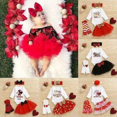 Newborn Infant Baby Girl Valentine's Romper Tutu Skirt Hairband Leg Warmer Set