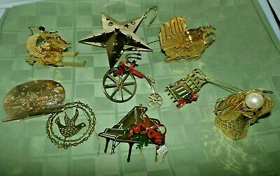 Lot of Christmas Ornament Brass 3D Santa Baby Carriage Angel