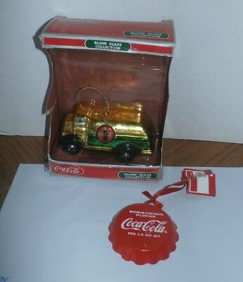 Lot of 2 Coca Cola Delivery Truck Coke Blown Glass Christmas Ornament and Button