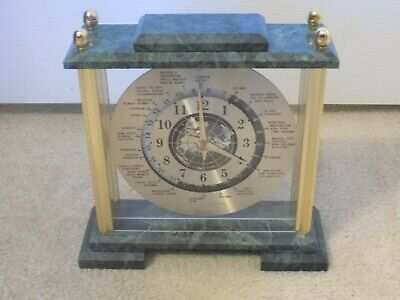Gorgeous GMT World Time Mantel Brass Marble Shelf Clock FREE SHIPPING!