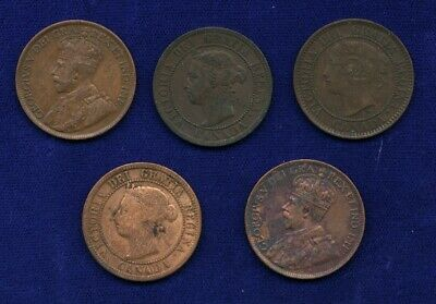 Canada One Cent Coins: 1859, 1882-H, 1895, 1910, 1915, 1916, 1918,1927, Lot Of 8