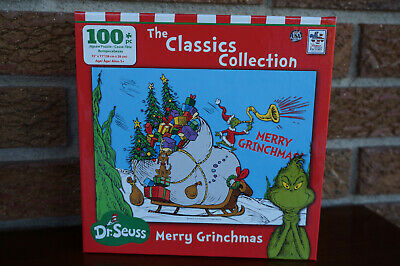 CHRISTMAS Puzzle How the GRINCH Stole Whoville Sleigh Gifts 100 Pc NEW Seuss Fun