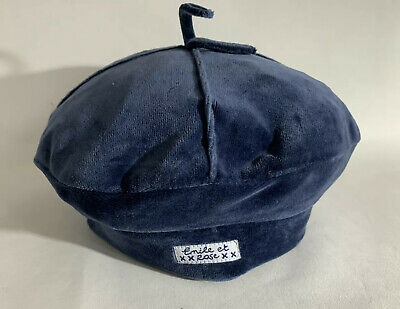 Emile Et Rose Mid Blue Cotton Childs Segmented Fitted Beret Bow Top 2 Yrs 93cm.
