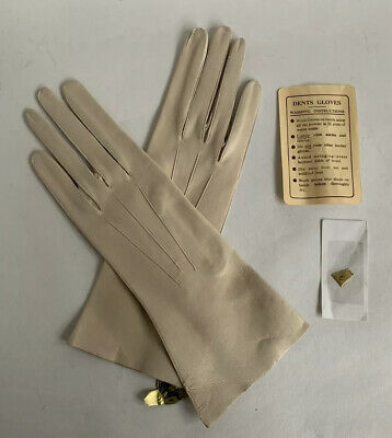 Dents Vintage 1950s Cream Leather 10 Inch Evening Gloves Wedding Church Size 6