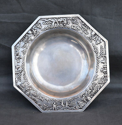 Antique Chinese Silver Export Plate Embossed Stamp Behind