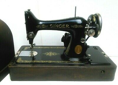 Vintage 1924 Singer 99K Black Electric Sewing Machine with Wood Case and key