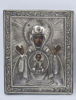 Antique Miniature Silver Russian Icon.... Signed