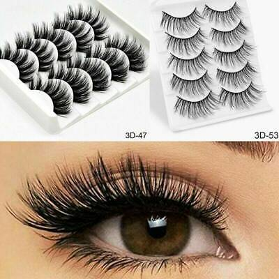 5Pair 3D Mink False Eyelashes Wispy Cross Long Thick Soft Fake Eye Lashes Hot