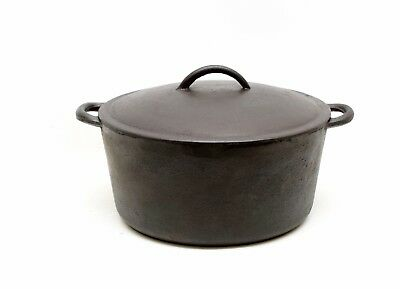 Antique Vintage Cast Iron Dutch Oven Lid 10 inch 2 handles Cleaned & Seasoned