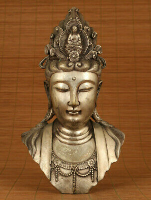 Big chinese old Tibet silver casting buddha kwan-yin statue figure collect deco