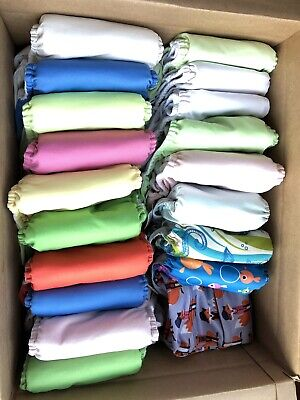 Lot Of 18 Assorted Color Cloth Diapers Bag AIO Pockets No Stains EUC