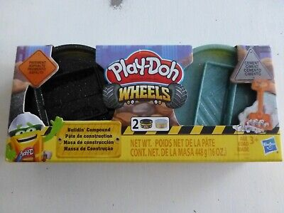 New~Play Doh Wheels Buildin' Compound ~ Black Glitter Pavement & Cement Tubs