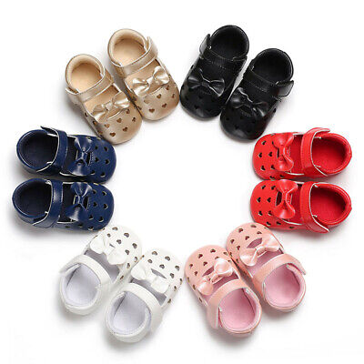 Baby Girl Leather Hollow out Soft Sole Crib Toddler Newborn Shoes  Infant Kids