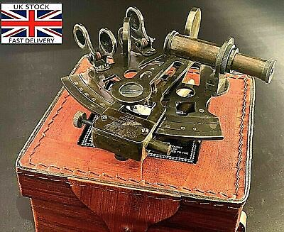 Maritime Vintage Brass Nautical Sextant Leather Case Kelvin Hughes London 1917