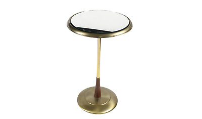 Vintage 60s Mid Century Modern MCM Brass Mirrored End Table Side Table Glass