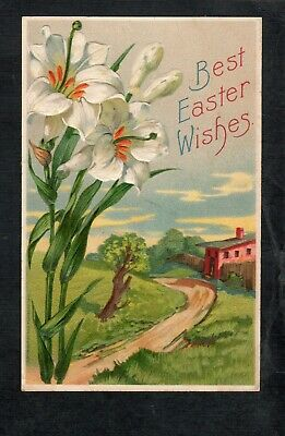 A275  Antique Postcard Easter Lilies at farm house embossed