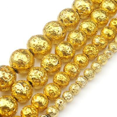 Natural Stone Gold Lava Stone Round Loose Beads 4mm 6mm 8mm 10mm DIY 15''