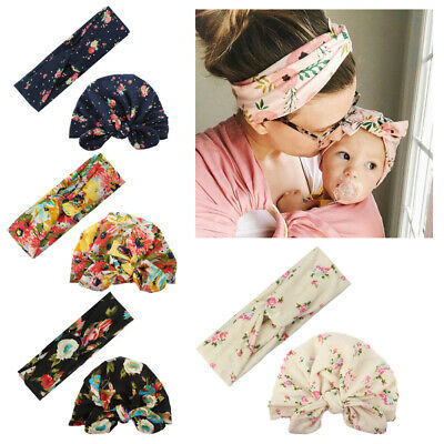 Knitted Baby Mom Toddler Girls Kids Bow Knot Turban Headband Hair Band Headwrap