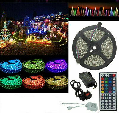 10M 5050 RGB 60 LED STRIP LIGHTS COLOUR CHANGING FLEXBILE TAPE LIGHTING 12V Xmas