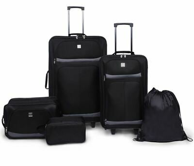 5 Piece Luggage Set Carryon With Wheels Men Women Tote Sack Bags Case Upright