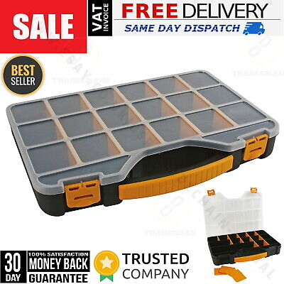 Compact Parts Organiser Tool Screw Storage Carry Case Box 20 Compartments Perel