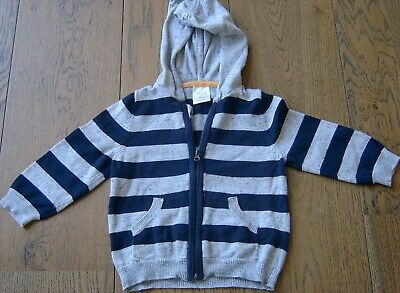 Seed Heritage Baby Boys Cotton Knit Zip Front Hooded Cardigan Sz 9 - 12Months