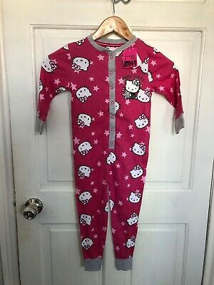 Girls Hello Kitty Pink Cotton All In One Sleepsuit Pyamas Primark Age 5-6 Years