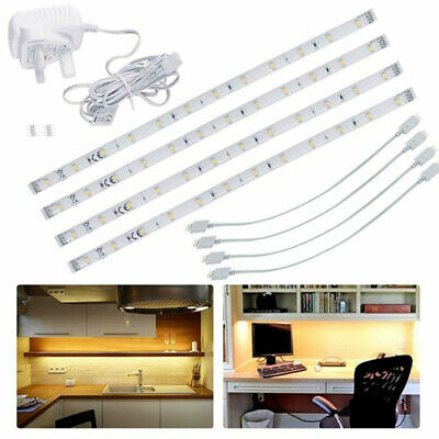 4X LED Strip Lights Under Cabinet Kitchen Cupboard Shelf Warm White Linkable 3M