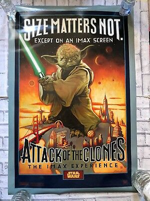 Star Wars IMAX Attack Of The Clones Size Matters Not Yoda One Sheet Movie Poster