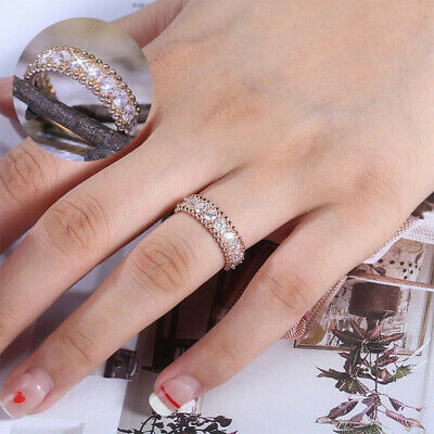 Rings Size 6-10 White Rose for Women Cut Gold Round Filled Gorgeous Sapphire