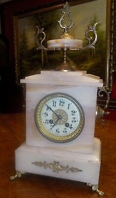 Antique French Gilt Metal & Marble 8 Day Mantel Clock