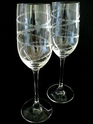 Set 2 Riedel Signed Engraved Wine Champagne Glasses 8-1/4""
