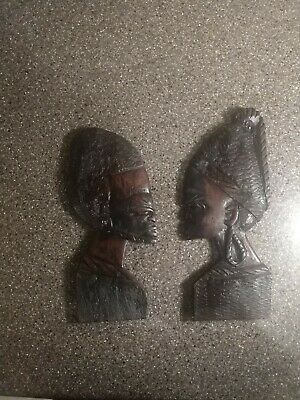 African Tribal Art Hand Carved Wood Husband Wife Man Woman Profiles