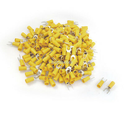 H● 500* SV5.5-6S 12-10 AWG Yellow PVC Sleeve Insulating Fork TerminalsConnector.
