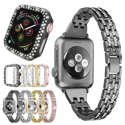 Bling Stainless Steel Band + Case Cover For Apple Watch Series 5 4 3 2 1 38/42mm