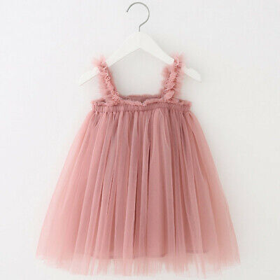 Toddler Newborn Dress Kids Baby Girls Princess Clothes Strap Tulle Solid Dress