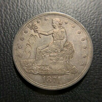 1874 P Trade Dollar AU About Uncirculated Luster Type Silver One T$1